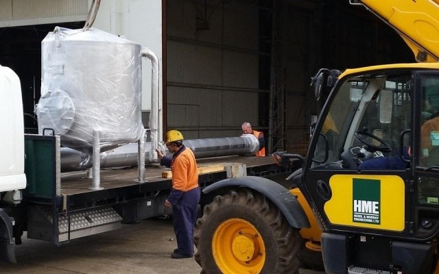Loading 1,300 litre CIP tank for delivery